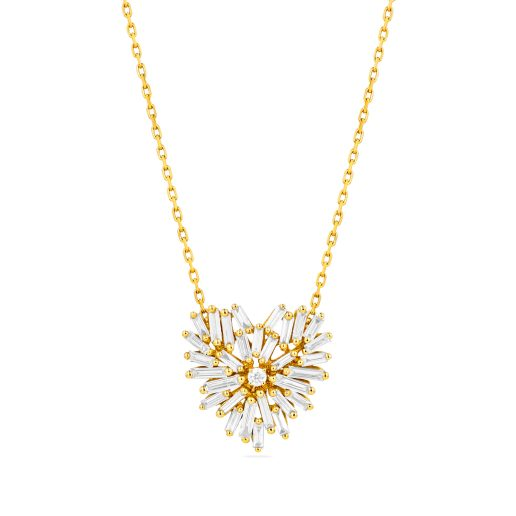SUZANNE KALAN - 18kt YELLOW GOLD FIREWORKS SMALL HEART PENDANT