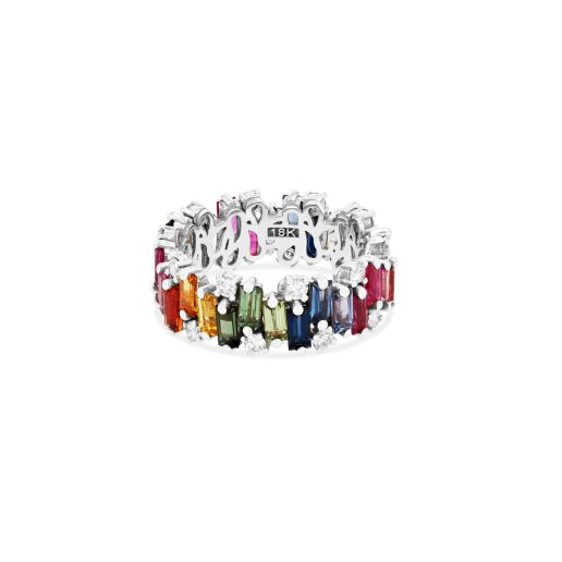 SUZANNE KALAN - AUDREY RAINBOW RING 18kt WHITE GOLD