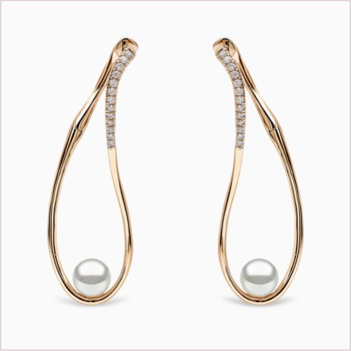 "YOKO LONDON ""SLEEK"" AKOYA PEARL & DIAMOND EARRINGS QYE2192-6X"
