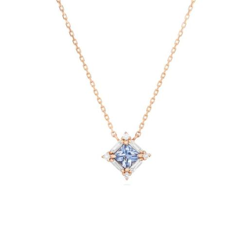 SUZANNE KALAN - PRINCESS CUT LIGHT BLUE SAPPHIRE PENDANT
