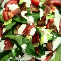 Homemade Ranch Dressing on BLT Salad