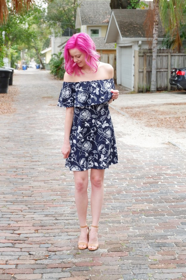 off the shoulder dress spring champagne thursday jess levy boston based style fashion blogger