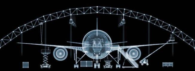 A Boeing 777, the largest x-ray ever taken. It required 500 separate x-rays.Photo: Nick Veasey