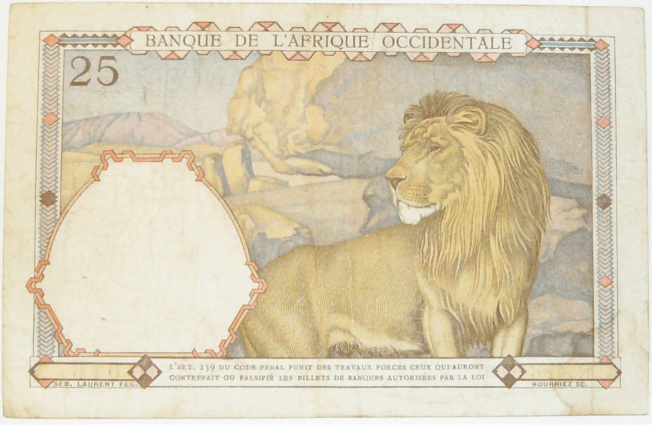 Paper lion - an historic French West Africa banknote (1926)