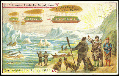 The future, according to Hildebrand's Chocolates in 1900. Vacationing at the North Pole. This one is seeming less far-fetched these days. Source: PaleoFuture