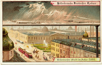 The future, according to Hildebrand's Chocolates in 1900. Roofed cities. Source: PaleoFuture