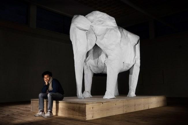 Origami elephant created by Sipho Mabona Photo by Philipp Schmidli / Mabona