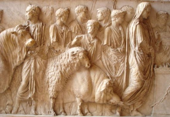 "Image of the suovetaurilia, a Roman sacrificial rite in which three animals - a sheep, a pig and a bull to the god of Mars.  ""That with the good help of the gods success may crown our work, I bid thee, Manius, to take care to purify my farm, my land, my ground with this suovetaurilia, in whatever part thou thinkest best for them to be driven or carried around."" This 1st century Roman engraving is found in the Louvre. Source: Wikipedia"