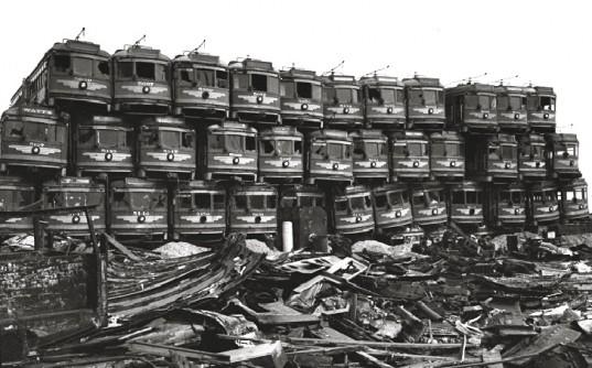 Retired LA streetcars. Source: Inhabitat