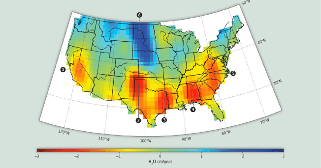 A broader view - groundwater changes 2003-2014 across the United States. Source: NASA/Gravity Recovery and Climate Experiment (GRACE)