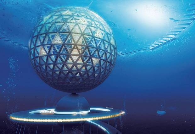 Blue Garden, 200 meters beneath the ocean surface. The top of the sphere could be elevated above the surface for sunlight and fresh air, and retracted during storms. Image: Shimizu Corporation