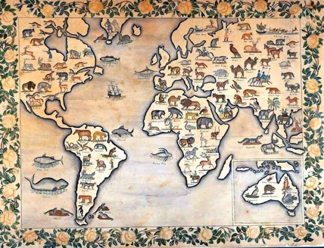 Map of the Animal Kingdom, circa 1835.  Source: American Folk Art Museum via streetsofsalem