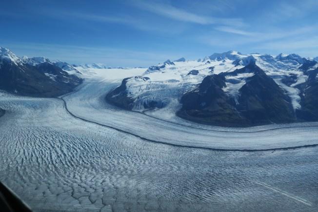 The black line where two glaciers meet.