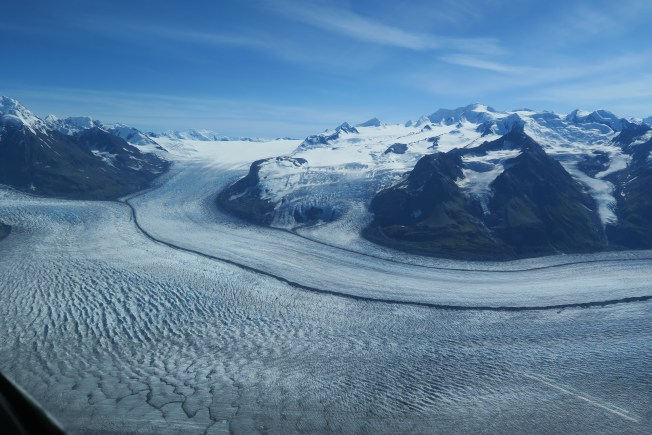 The black line where two glaciers meet.