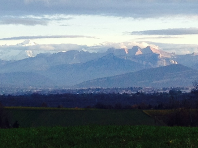 Alps across Lake Geneva, before their winter coat.