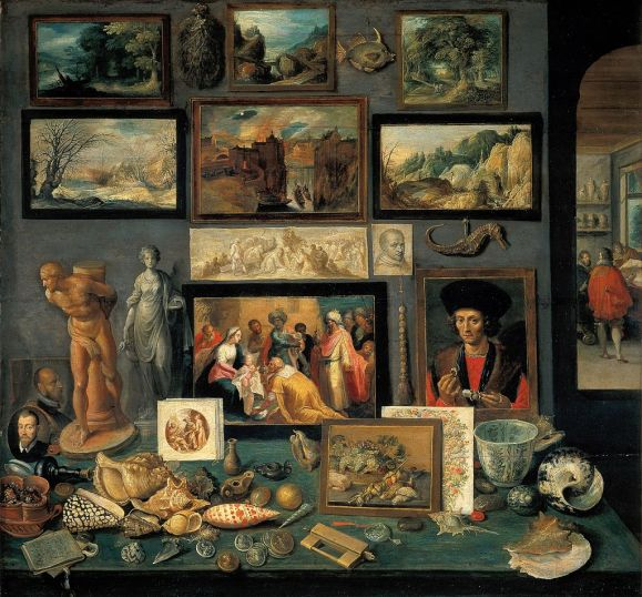 A corner of a cabinet, painted by Frans II Francken in 1636 reveals the range of connoisseurship a Baroque-era virtuoso might evince. Source: Wikipedia