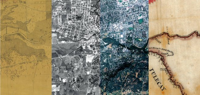 A map, two aerial photos and a land survey showing different stages of the area around the Napa River and the city of Napa, Calif., in (from left) 1858, 1942, 2009 and 1858.  Composite by Ruth Askevold/San Francisco Estuary Institute; from left to right: National Oceanic and Atmospheric Administration, U.S.D.A., U.S.D.A., Courtesy of The Bancroft Library, University of California, Berkeley  Image/caption: New York Times