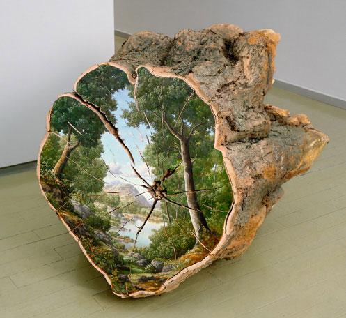 Trophy - Oil on fallen log (1998) Artist: Alison Moritsugu