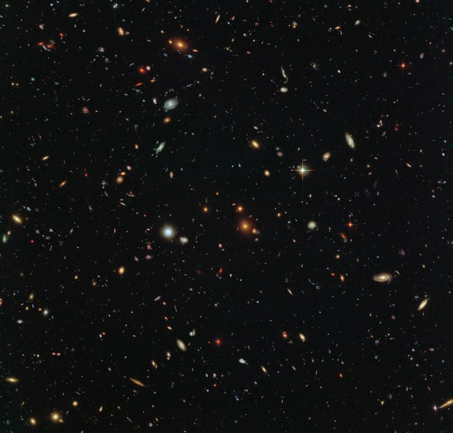 This spectacular skyscape was captured during the study of the giant galaxy cluster Abell 2744, otherwise known as Pandora's Box. While one of Hubble's cameras concentrated on Abell 2744, the other camera viewed this adjacent patch of sky near to the cluster. This parallel field — when compared to other deep fields — will help astronomers understand how similar the Universe looks in different directions. Image credit: NASA, ESA and the HST Frontier Fields team (STScI), Acknowledgement: Judy Schmidt Text credit: European Space Agency