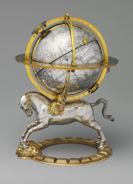 "Celestial Globe with Clockwork (Vienna, 1579), by Gerhard Emmoser.  the globe originally rotated, powered by an internal movement, and an image of the sun moved along the path of the ecliptic. Use of the mythological winged Pegasus to support the celestial sphere conveys a Renaissance idea that ""the wings of the human mind"" support the science of astronomy. Image/caption: Metropolitan Museum of Art"