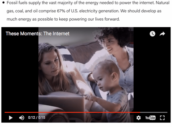 A blog post implying that without fossil-fuel based energy, citizens will lose access to the Internet, entertainment, and connectivity. Source: Fueling U.S. Forward