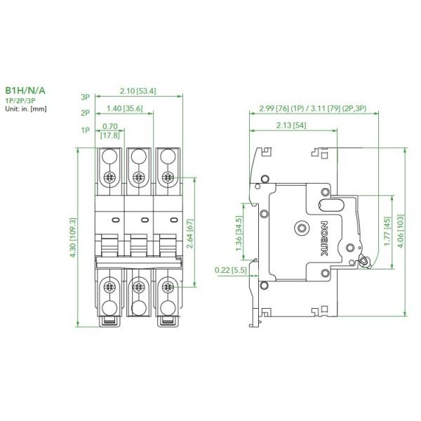 Noark UL489 Mini Circuit Breaker, B1H Series, 1.6 Amp