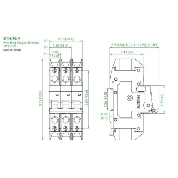 Noark UL489 Mini Circuit Breaker, B1H Series, 2.0 Amp