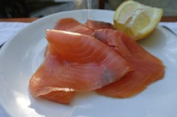 Shrimp and Smoked Salmon Smorrebrod With Lemon Cucumbers
