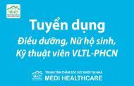 Tuyển dụng điều dưỡng, nữ hộ sinh, kỹ thuật viên vật lý trị liệu