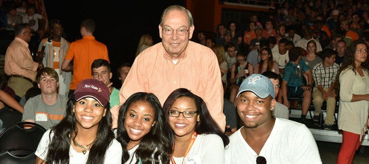 Chancellor Cheek with several new students