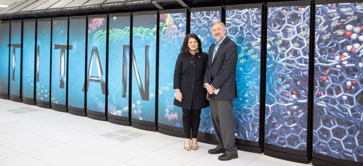 Chancellor Davenport with the Titan Supercomputer