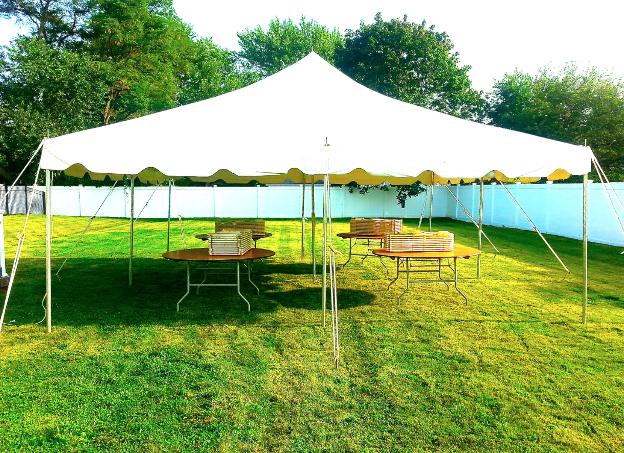 Tent And Chair Rentals Pole Tent With Tables And Chairs Chance Of Showers Party