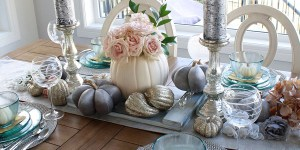 Fall tablescape featuring white pumpkin centrepiece