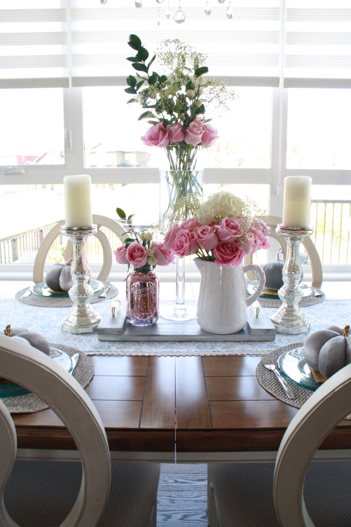 Pink rose fall tablescape