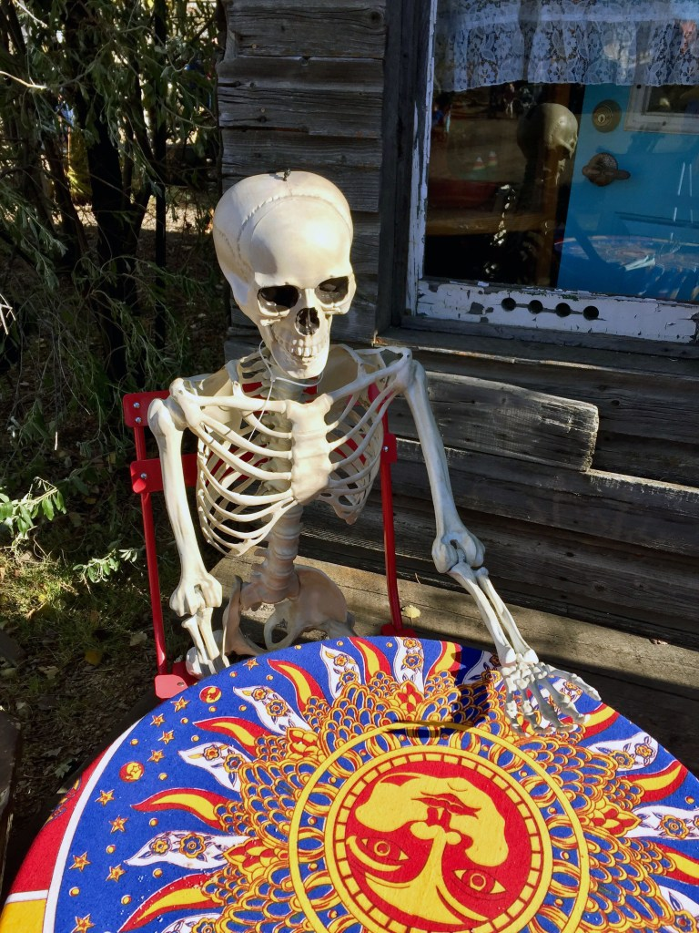 Skeleton relaxes at table