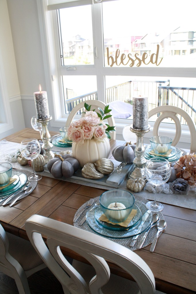 Blessed grey and pink fall table setting