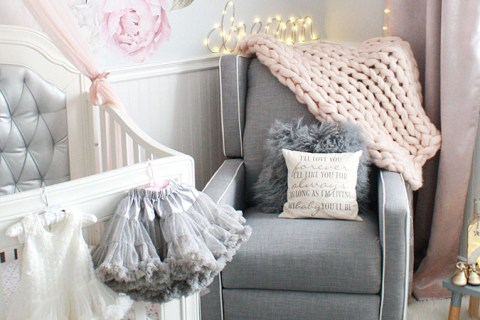 Glamorous pink and gray nursery for baby girl