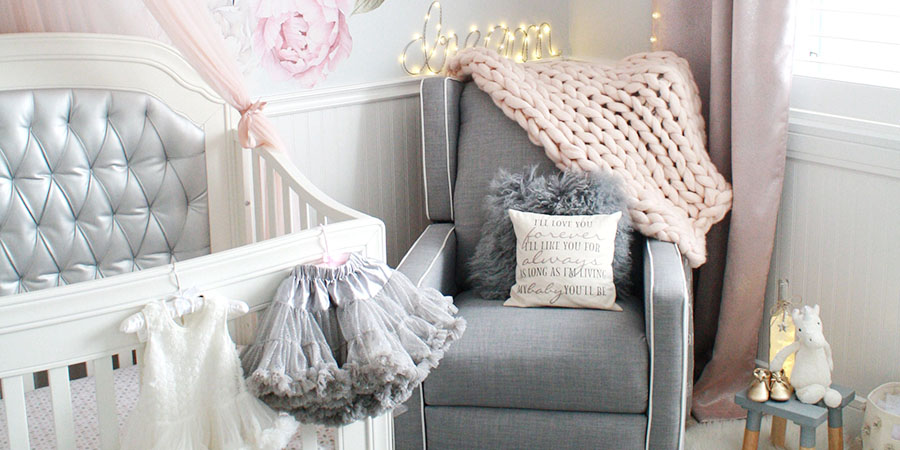Glamorous pink and gray nursery for baby girl