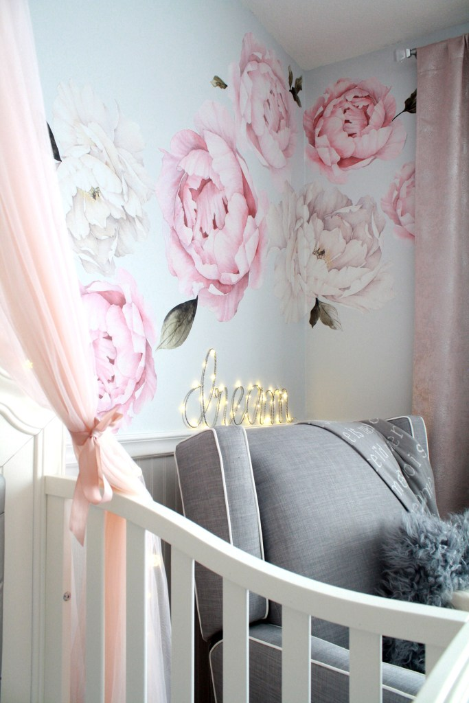 Pink and gray nursery with watercolour peony wall decals