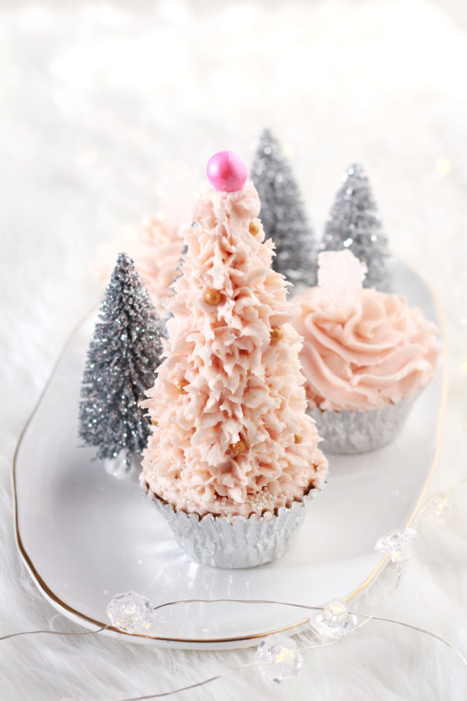 Pink Christmas tree cupcakes - easy, fun, glam Christmas baking - cute cupcakes that look like snowy Christmas trees!