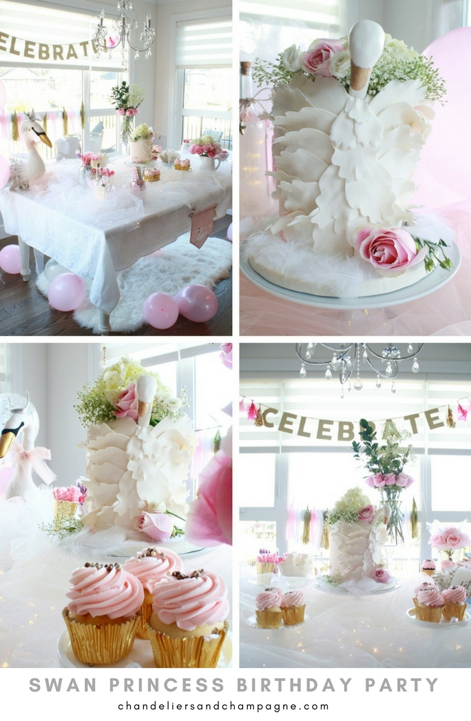 Swan princess birthday party - Elegant first birthday ideas - birthday party planning for girls - Elegant swan birthday party dessert table