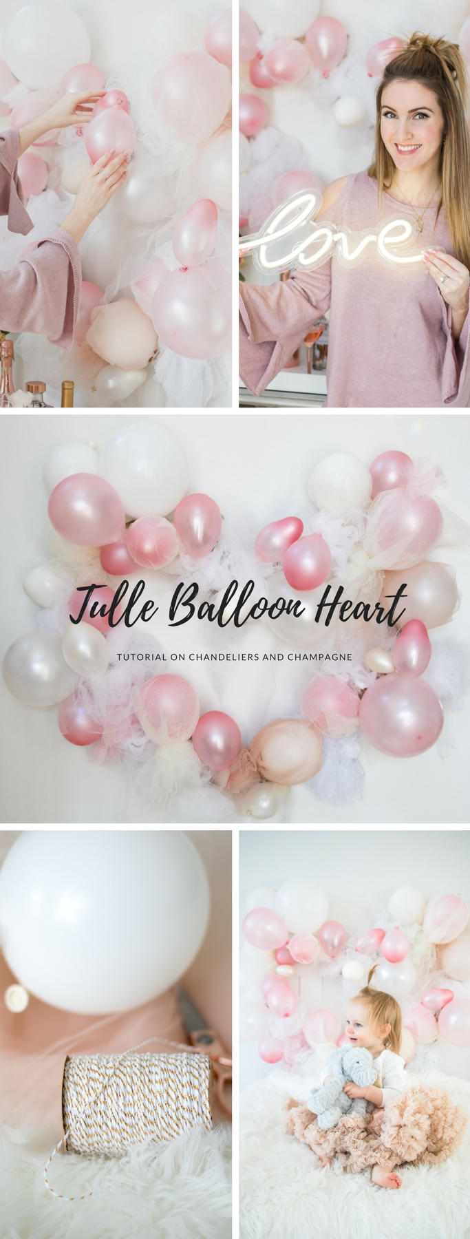 Tulle Balloon Heart Tutorial for Valentine's Day now posted on Chandeliers and Champagne!
