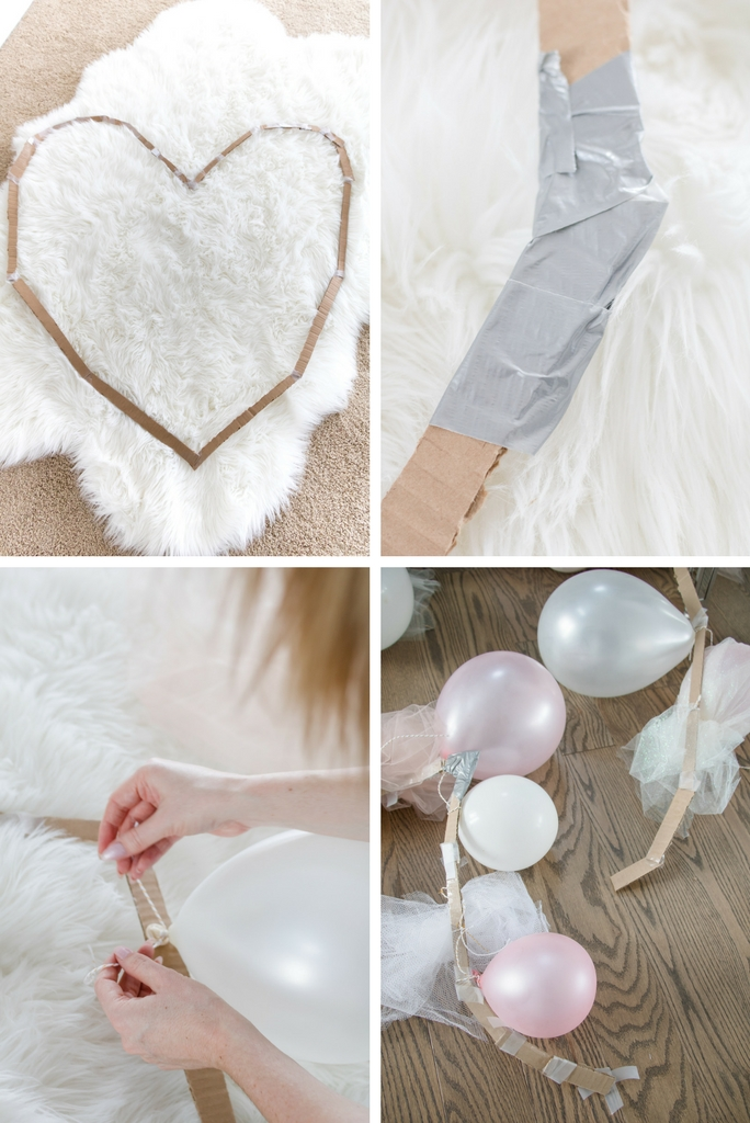 Pinterest fail: tulle balloon heart wreath - make sure to use thick cardboard or it will break