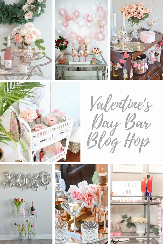 Valentine's Day bar blog hop featuring seven talented bloggers showcasing their pretty-in-pink romantic bar cart styles
