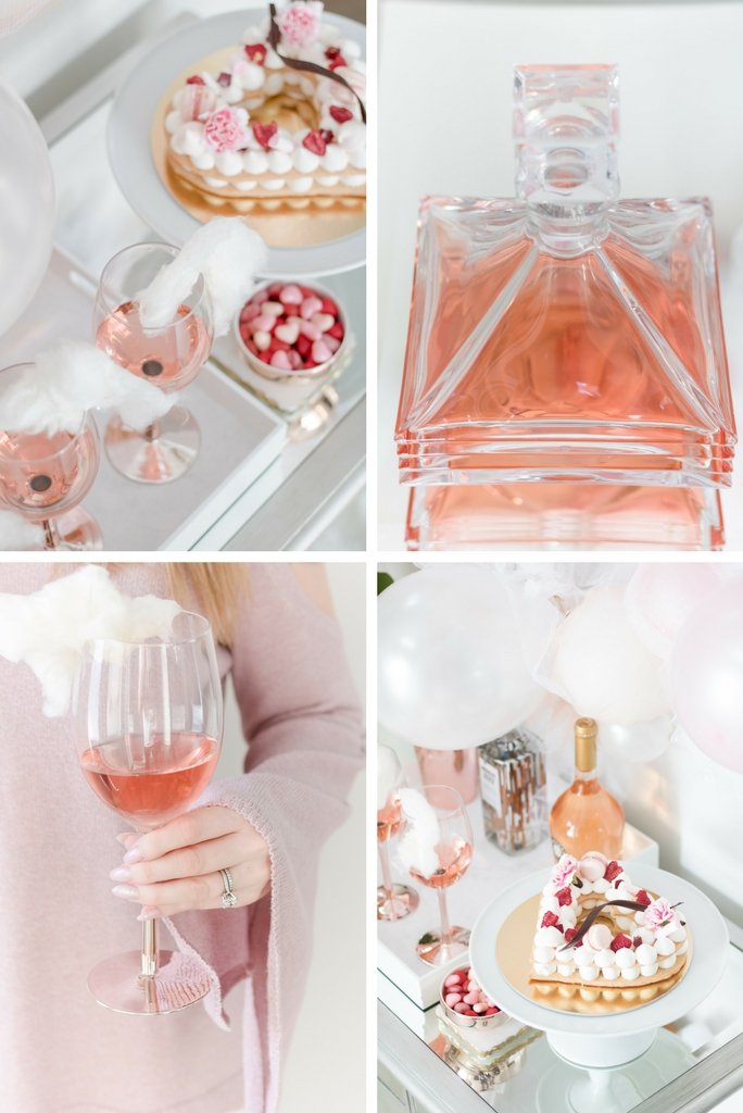 Valentine's Day Bar - rose cotton candy cocktail - Valentines Day bar styling