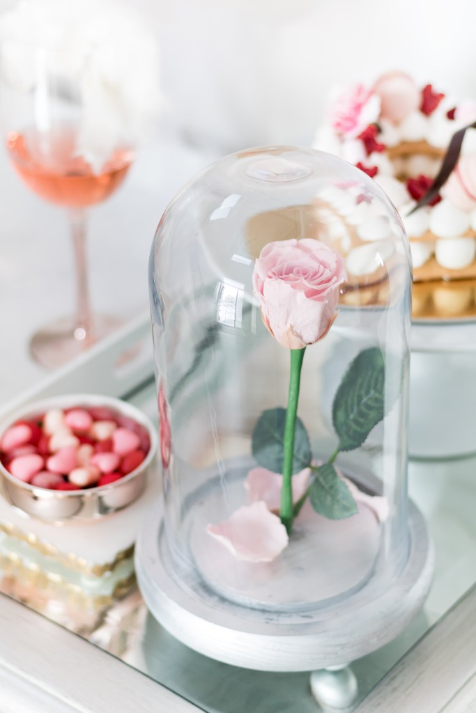 Valentine's Day bar with enchanted Beauty and the Beast preserved pink rose