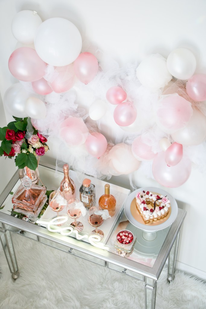 Beautiful Valentine's Day bar styling with tulle and balloon heart. Pretty and pink bar details.