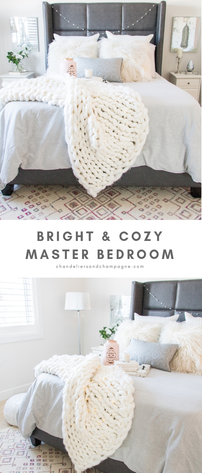 Our Bright and Cozy Master Bedroom • Chandeliers and Champagne