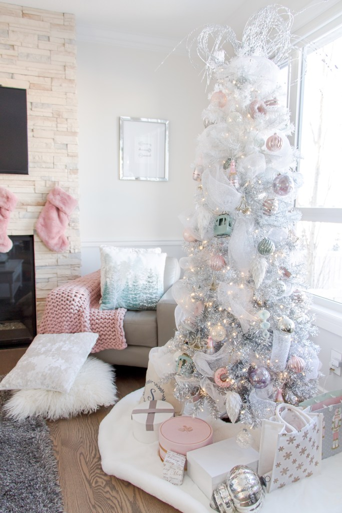 White Christmas tree with pastel pink ornaments and tulle - white Christmas tree decorating ideas