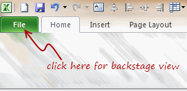 Excel 2010 - Backstage view aka File Menu